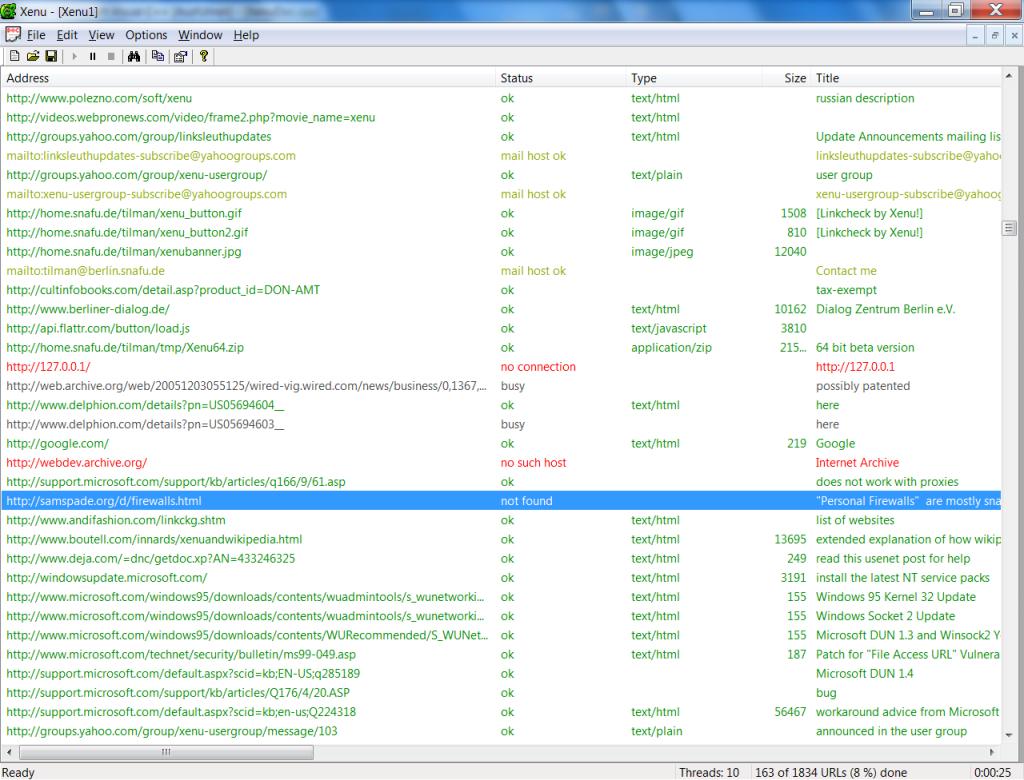 Xenu Link Sleuth Screenshot